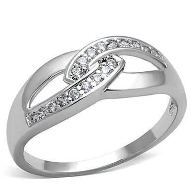 3W763 - Rhodium Brass Ring with AAA Grade CZ  in Clear