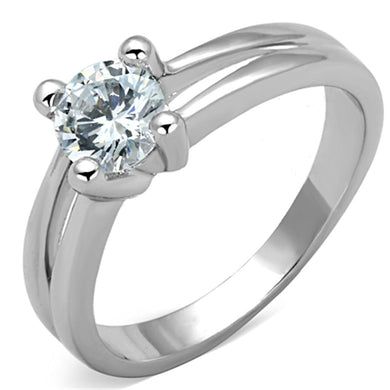 3W764 - Rhodium Brass Ring with AAA Grade CZ  in Clear