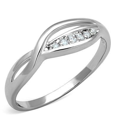 3W768 - Rhodium Brass Ring with AAA Grade CZ  in Clear