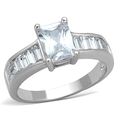3W769 - Rhodium Brass Ring with AAA Grade CZ  in Clear