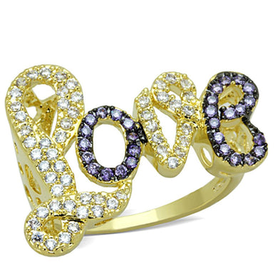 3W777 - Gold+Ruthenium Brass Ring with AAA Grade CZ  in Amethyst