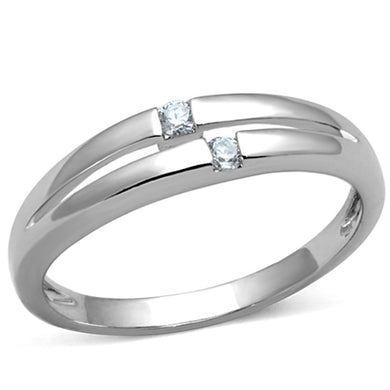 3W779 - Rhodium Brass Ring with AAA Grade CZ  in Clear