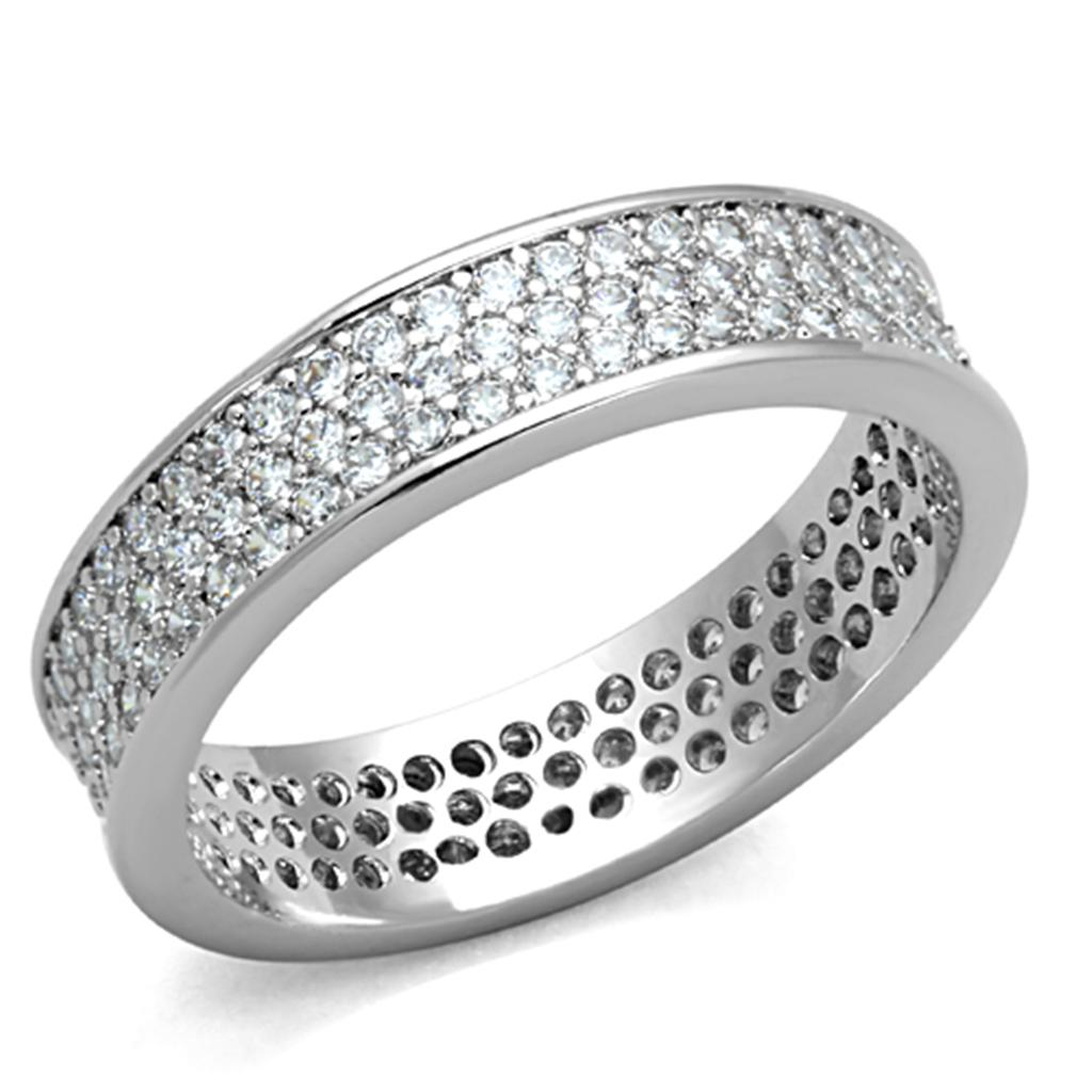 3W781 - Rhodium Brass Ring with AAA Grade CZ  in Clear