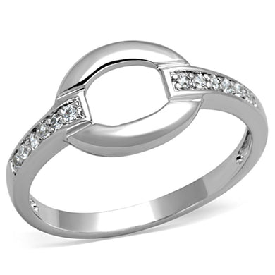 3W790 - Rhodium Brass Ring with AAA Grade CZ  in Clear