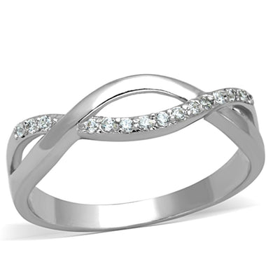 3W796 - Rhodium Brass Ring with AAA Grade CZ  in Clear