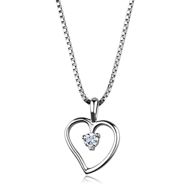 3W797 - Rhodium Brass Chain Pendant with AAA Grade CZ  in Clear