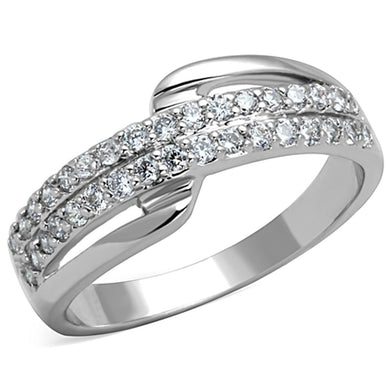 3W798 - Rhodium Brass Ring with AAA Grade CZ  in Clear
