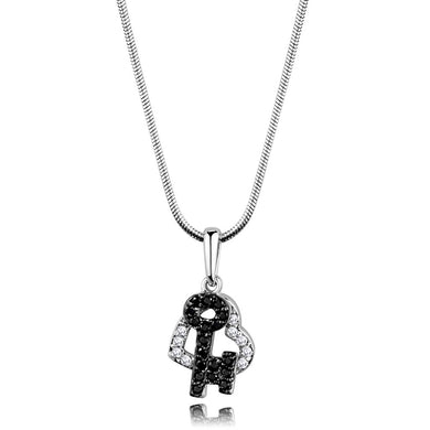 3W799 - Rhodium + Ruthenium Brass Chain Pendant with AAA Grade CZ  in Black Diamond