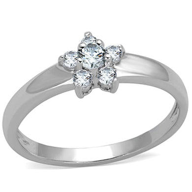 3W814 - Rhodium Brass Ring with AAA Grade CZ  in Clear