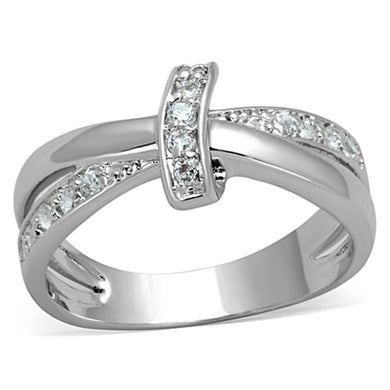 3W819 - Rhodium Brass Ring with AAA Grade CZ  in Clear