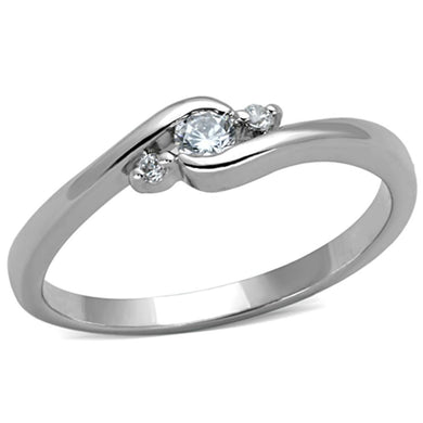 3W822 - Rhodium Brass Ring with AAA Grade CZ  in Clear