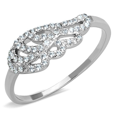 3W824 - Rhodium Brass Ring with AAA Grade CZ  in Clear