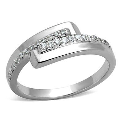 3W835 - Rhodium Brass Ring with AAA Grade CZ  in Clear