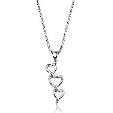 3W843 - Rhodium Brass Chain Pendant with AAA Grade CZ  in Clear
