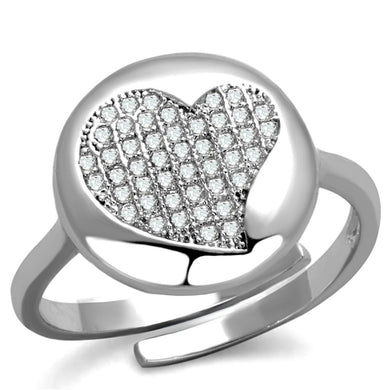 3W864 - Rhodium Brass Ring with AAA Grade CZ  in Clear