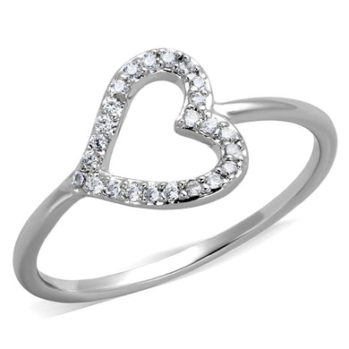 3W866 - Rhodium Brass Ring with AAA Grade CZ  in Clear