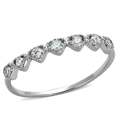 3W868 - Rhodium Brass Ring with AAA Grade CZ  in Clear