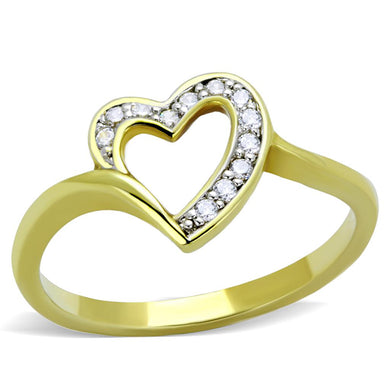 3W870 - Gold+Rhodium Brass Ring with AAA Grade CZ  in Clear