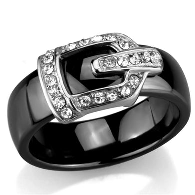 3W954 - High polished (no plating) Stainless Steel Ring with Ceramic  in Jet