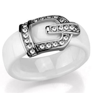 3W955 - High polished (no plating) Stainless Steel Ring with Ceramic  in White