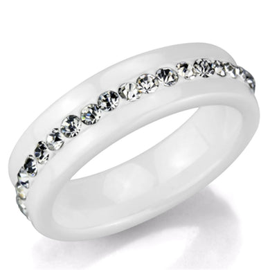 3W968 - High polished (no plating) Stainless Steel Ring with Ceramic  in White