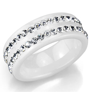 3W970 - High polished (no plating) Stainless Steel Ring with Ceramic  in White