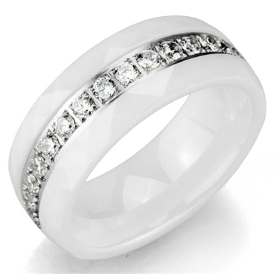 3W983 - High polished (no plating) Stainless Steel Ring with Ceramic  in White