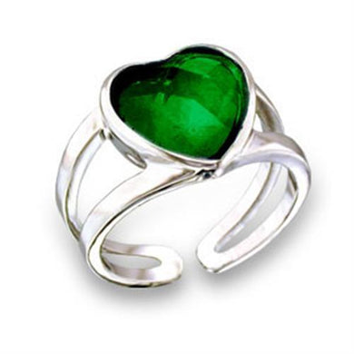 411801 - Rhodium Brass Ring with Top Grade Crystal  in Emerald