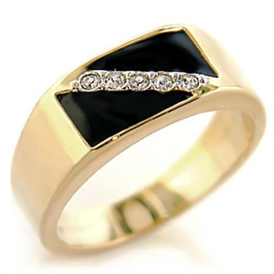 414701 - Gold+Rhodium Brass Ring with Top Grade Crystal  in Clear
