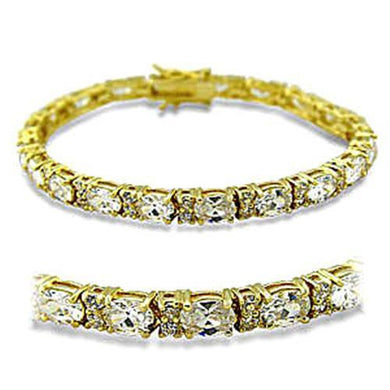 415502 - Gold Brass Bracelet with AAA Grade CZ  in Clear