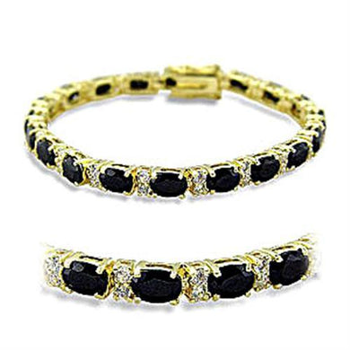 415503 - Gold Brass Bracelet with AAA Grade CZ  in Jet