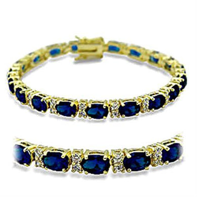 415504 - Gold Brass Bracelet with Synthetic Spinel in Sapphire