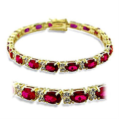 415505 - Gold Brass Bracelet with Synthetic Garnet in Ruby