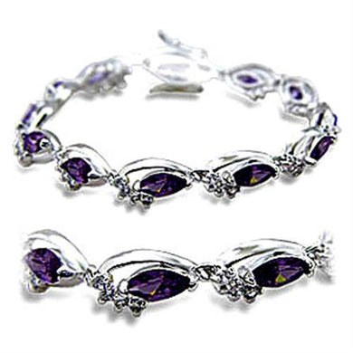 415701 - Rhodium Brass Bracelet with AAA Grade CZ  in Amethyst