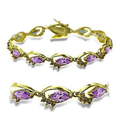 415702 - Gold Brass Bracelet with AAA Grade CZ  in Light Amethyst