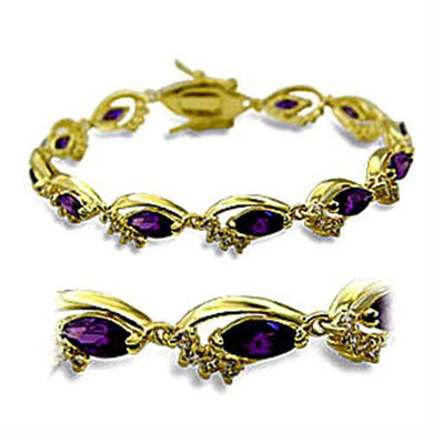 415703 - Gold Brass Bracelet with AAA Grade CZ  in Amethyst