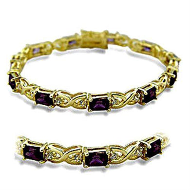 415706 - Gold Brass Bracelet with AAA Grade CZ  in Amethyst