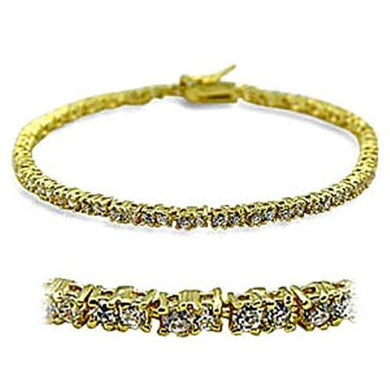 415802 - Gold Brass Bracelet with AAA Grade CZ  in Clear