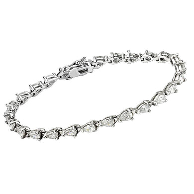 415803 - Rhodium Brass Bracelet with AAA Grade CZ  in Clear