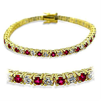 415901 - Gold Brass Bracelet with Synthetic Garnet in Ruby