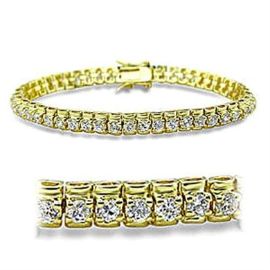 415906 - Gold Brass Bracelet with AAA Grade CZ  in Clear
