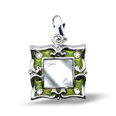 43503 Rhodium Brass Pendant with Top Grade Crystal in Clear