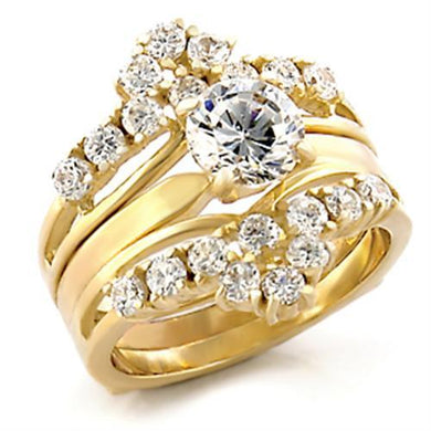 TK2948 - IP Gold(Ion Plating) Stainless Steel Ring with AAA Grade CZ  in Clear
