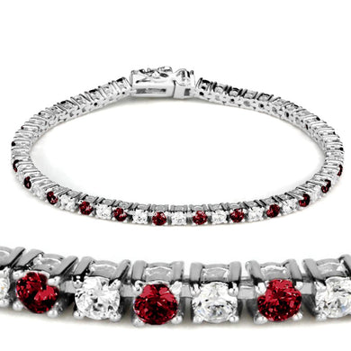 46902 - Rhodium Brass Bracelet with Synthetic Garnet in Ruby