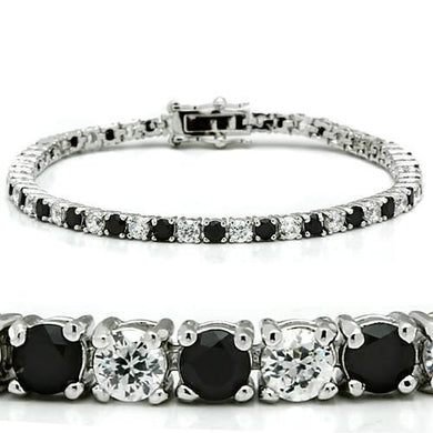 46903 - Rhodium Brass Bracelet with AAA Grade CZ  in Black Diamond