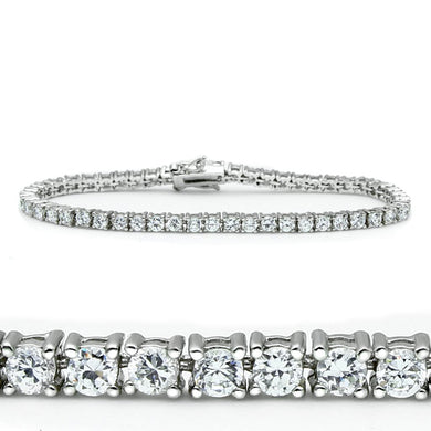 46905 - Rhodium Brass Bracelet with AAA Grade CZ  in Clear