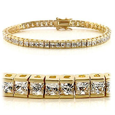 47101 - Gold Brass Bracelet with AAA Grade CZ  in Clear