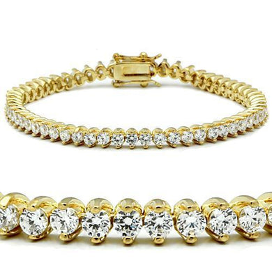 47104 - Gold Brass Bracelet with AAA Grade CZ  in Clear