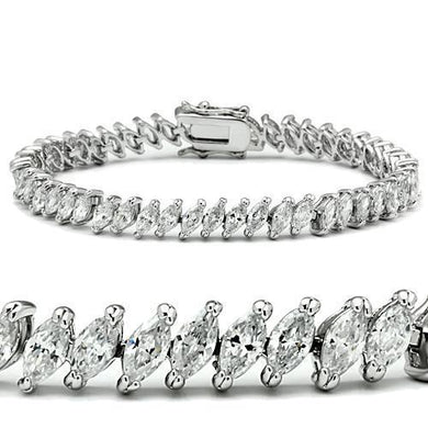 47106 - Rhodium Brass Bracelet with AAA Grade CZ  in Clear