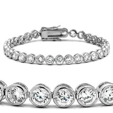 47201 - Rhodium Brass Bracelet with AAA Grade CZ  in Clear